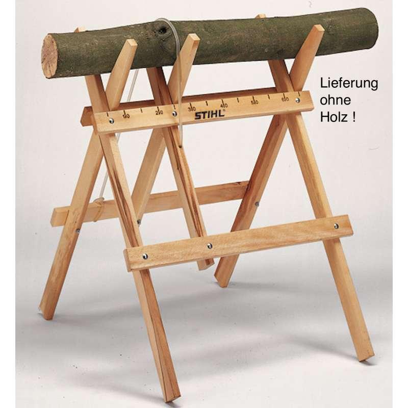 STIHL Sägebock aus Holz - Sägehilfe - Traglast 70 kg - Schneidebock